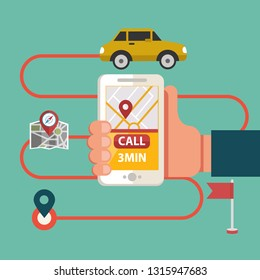 Process of booking taxi via mobile app. Calling Taxi message on a mobile phone screen. Hand holding smart phone on city background.