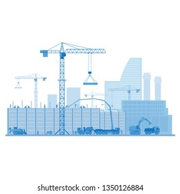 The process of building buildings with tower cranes, bulldozer, concrete mixer, excavator, construction workers.