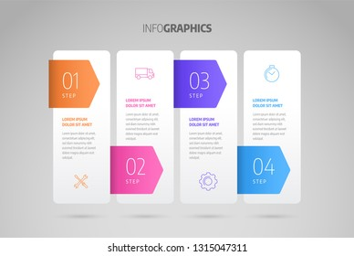Process chart. Business data element of chart, graph, diagram with 4 steps, options, parts, processes. Infographics design vector and marketing icons.