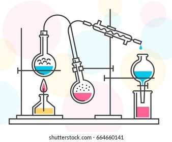 Process of chemical reaction in the scientific laboratory, consisting of flasks and hoses. Vector color illustration in a line style. Possible reconfiguration.