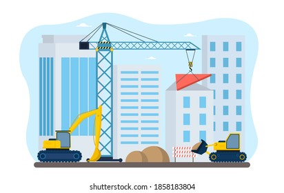 Process of construction in the city. Workers in excavators moving send and crane lifting heavy roof part and putting on house. Flat cartoon vector illustration