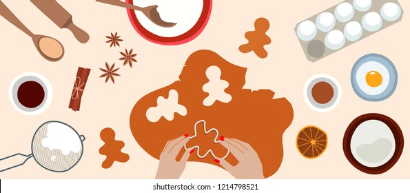 Process of cooking gingerbread. Preparing ginger cookies. Top view. Christmas food. Vector flat cartoon style. Illustration for banner, advertising. Cooking master class.