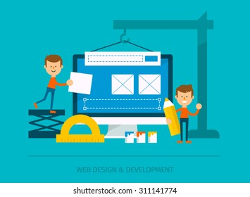 Process of creating mobile website. Team of people use construction tools creating interface on phone tablet. Flat style vector design.
