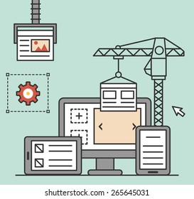 Process of creating site. Process coding and programming - vector illustration