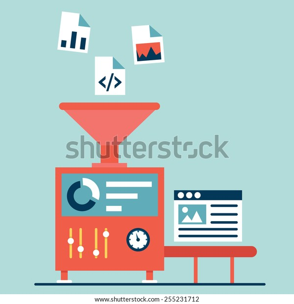 Process of creating site. Process coding and programming. Design and programming - vector illustration