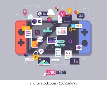 The process of developing interface for game console. Flat design template for mobile app and website design development with included UI UX elements.