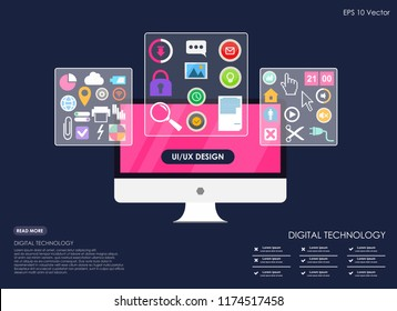 The process of developing interface for pc flat design template for mobile app and website design
