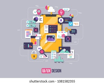 The process of developing interface for smartphone. Flat design template for mobile app and website design development with included UI UX elements.