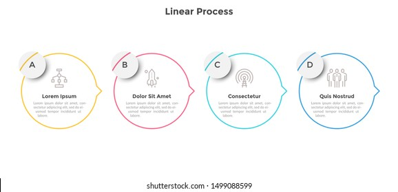 Process diagram with four circular elements with arrows or pointers. Concept of 4 stages of business marketing strategy. Linear infographic design template. Vector illustration for progress bar.