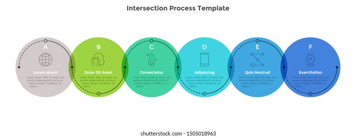 Process diagram with six intersected colorful translucent round elements. Concept of 6 development stages of business project. Flat infographic design template. Vector illustration for progress bar.