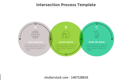 Process diagram with three intersected colorful translucent round elements. Concept of 3 development stages of business project. Flat infographic design template. Vector illustration for progress bar.