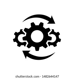 Process icon in flat style isolated on white. Process symbol in black for your web site design, app, UI. Simple operations icon. Vector illustration.
