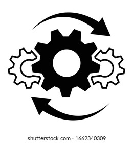 Process icon in flat style. Process symbol in black for your web site design, app, UI. Simple operations icon. Vector illustration.