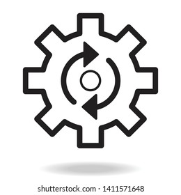 Process icon. Isolated cogwheel and process icon line style.