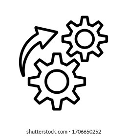 Process icon on white background. Process symbol in black for your web site design