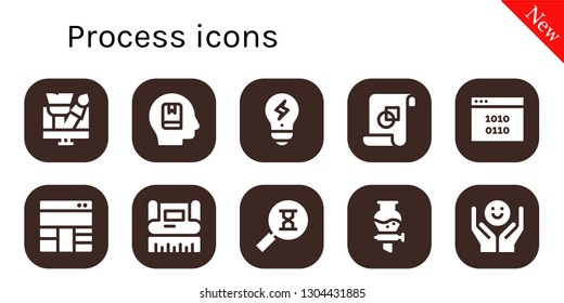 process icon set. 10 filled process icons.  Collection Of - Design, Memorize, Creativity, Graphic design, Binary code, Layout, Sandclock, Funnel, Psychology