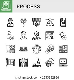 process icon set. Collection of Development, Engineer, Process, Data mining, Manufacturer, Sketchbook, Developer, Marketing director, Layout, Conveyor, Automation, Creative icons