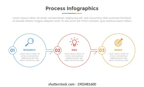 process infographic with 3 list point and modern flat style template slide for presentation