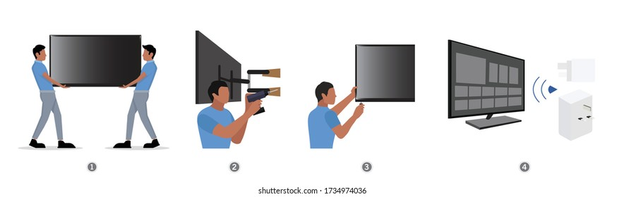 The process of Installation guide smart tv. Television, lcd, technician, and infographic. Vector Flat illustration