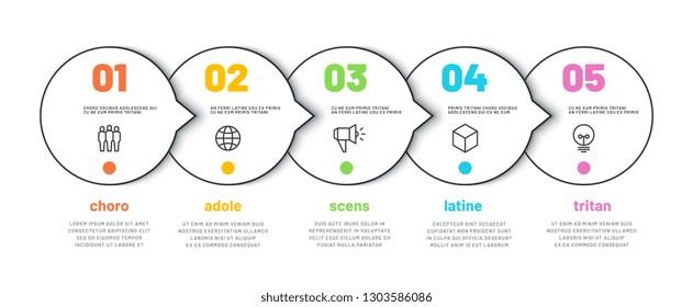 PROCESS LINE INFOGRAPHIC. 5 options timeline calendar, organization workflow diagram, number infochart. Vector infographics template