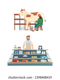 Process of milk production vector, milkmaid with cow and bottles on farm isolated person selling diary products cheese and ingredients on shelves