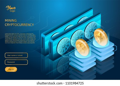Process of Ripple and Ethereum cryptocurrencies mining. Blockchain technology and system. Server farm or cluster. Isometric vector illustration in ultraviolet colors.