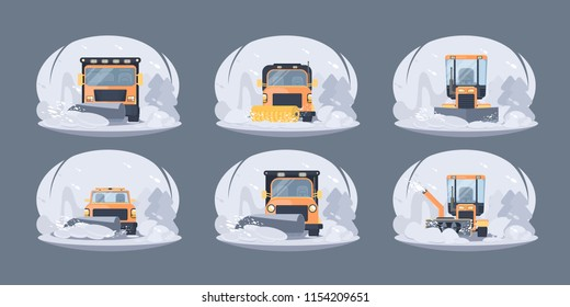 Process of snow removal and cleaning  road by snowfall. Winter highway snowplow and snow cleaning  service. Flat vector illustration for web banners.