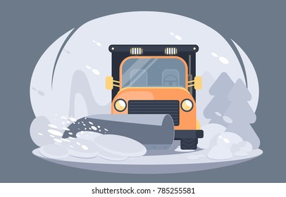 Process of snow removal from road by a snow thrower. Winter highway service. Flat vector illustration