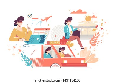 Process stages of tourist trip vector illustration. Phases happy vacation. Woman booking flight tickets to warm country and driving to airport with anticipation flat style concept