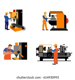 The process of working people for metal-cutting machines.Linear Flat industrial manufacture conveyor machine vector illustration.