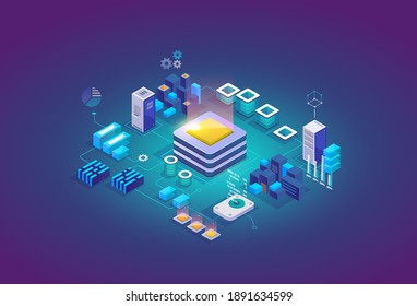 Processing center, storage servers, blockchain future technology isometric concept. Landing page template. Header for website. Isometric vector illustration