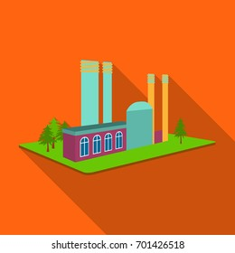 Processing factory. Factory and industry single icon in flat style isometric vector symbol stock illustration web.