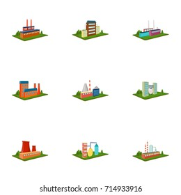 Processing factory,metallurgical plant and other production. Factory and industry set collection icons in cartoon style isometric vector symbol stock illustration web.