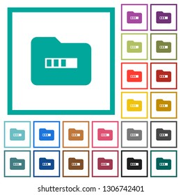 Processing folder flat color icons with quadrant frames on white background