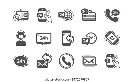 Processing icons. Call center, Support and Chat message. 24 hour service classic icon set Quality set. Vector