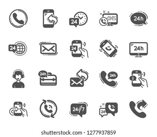 Processing icons. Set of Callback or feedback, Call support and Chat message icons. 24 hour service, Call centre, 24/7. Telephone callback, support message, feedback phone center. Vector