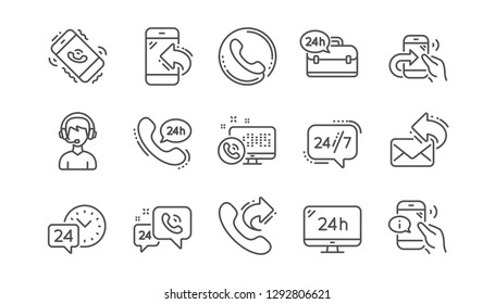 Processing line icons. Call center, Support and Chat message. 24 hour service linear icon set  Vector