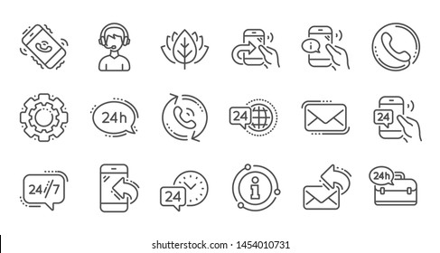 Processing line icons. Call center, Support and Chat message. 24 hour service linear icon set Quality line set. Vector