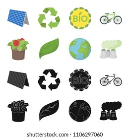 A processing plant, flowers in a pot, a green leaf, a planet Earth.Bio and ecology set collection icons in black,cartoon style vector symbol stock illustration web.