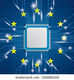 Processor with bits and EU flag. Eps 10 vector file.