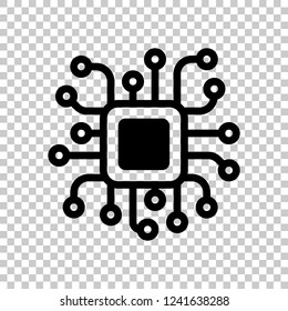 Processor chip, computer microchip, cpu chipset. Technology icon. Black symbol on transparent background
