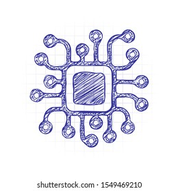 Processor chip, computer microchip, cpu chipset. Technology icon. Hand drawn sketched picture with scribble fill. Blue ink. Doodle on white background