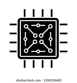 Processor with electronic circuits glyph icon. Microprocessor with microcircuits. Chip, microchip, chipset. CPU. Integrated circuit. Silhouette symbol. Negative space. Vector isolated illustration