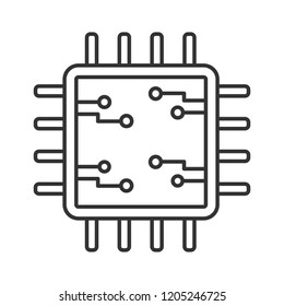 Processor with electronic circuits linear icon. Microprocessor with microcircuits. Chip, microchip, chipset. CPU. Thin line illustration. Integrated circuit. Vector isolated drawing. Editable stroke