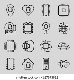 Processor icons set. set of 16 processor outline icons such as CPU, CPU in house, CPU in car