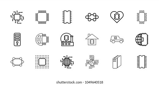 Processor icons. set of 18 editable outline processor icons: cpu, cpu in heart