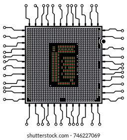 Processor isolated on White Background. Vector illustration