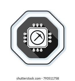 Processor Minig hazard sign illustration