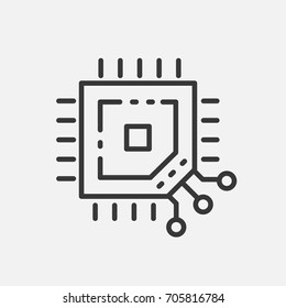 Processor - modern vector single line design icon. A black and white image depicting a vital part of computer, mobile device, tablet, phone, technology, microchip. Use it for your presentation.