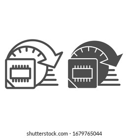 Processor overlocking line and solid icon. Computer microchip high performance symbol, outline style pictogram on white background. Benchmarking sign for mobile concept, web design. Vector graphics